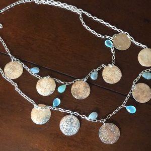 Stella & Dot coin necklace. Silver Coins.